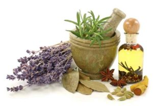 Herbs and mortar lavender